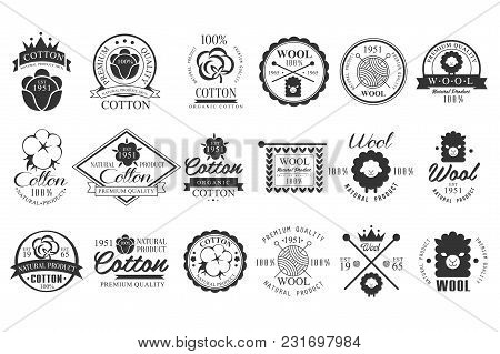 Collection Of Vintage Cotton And Wool Emblems With Hand Lettering. 100 Natural Product. Stylish Mono