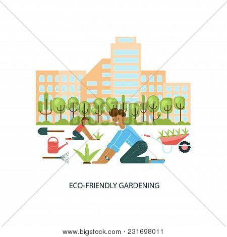 Modern Eco Technologies In The City. Eco Friendly Gardening. Icons In Flat Design. Vector Illustrati