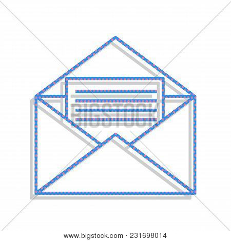 Letter In An Envelope Sign Illustration. Vector. Neon Blue Icon With Cyclamen Polka Dots Pattern Wit