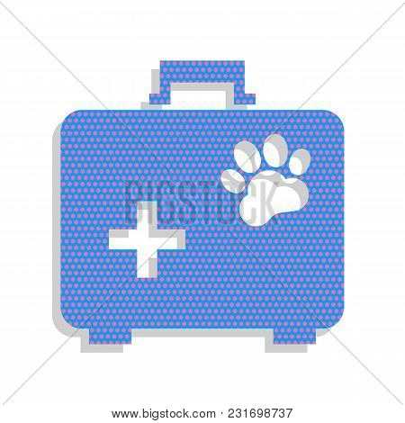 Pet Shop Sign Illustration. Vector. Neon Blue Icon With Cyclamen Polka Dots Pattern With Light Gray