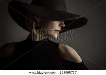 Woman Black Hat, Fashion Model Retro Beauty Portrait, Elegant Lady Wide Broad Brim Hat