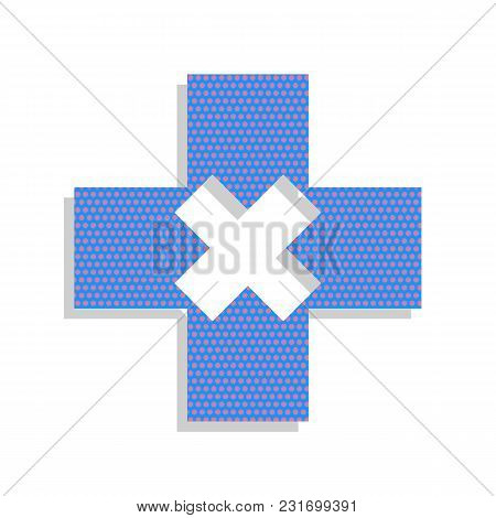 First Aid Sign Illustration. Vector. Neon Blue Icon With Cyclamen Polka Dots Pattern With Light Gray