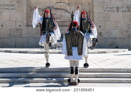 11.03.2018 Athens, Greece - Ceremonial Changing Of The Guard In Front Of The Greek Parliament. Europ