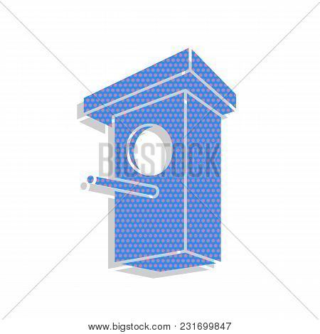 Birdhouse Sign Illustration. Vector. Neon Blue Icon With Cyclamen Polka Dots Pattern With Light Gray