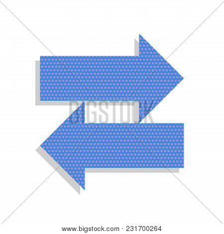 Two Arrows Left-right Sign. Vector. Neon Blue Icon With Cyclamen Polka Dots Pattern With Light Gray
