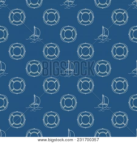 Seamless Travel Pattern With Yacht And Lifebuoy, Maritime Tourism Concept , Line Style Design, Vecto