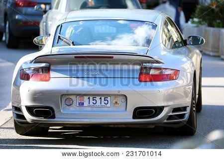 Monte-carlo, Monaco - March 17, 2018: Gray Porsche 911 Turbo (rear View) In The Streets Of Monaco In