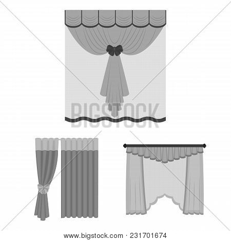 Different Kinds Of Curtains Monochrome Icons In Set Collection For Design. Curtains And Lambrequins