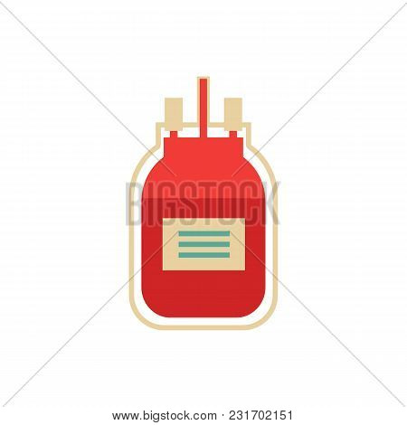 Flat Blood Donation Concept. Blood Transfusion Bag Icon. Blood Donor Day Illustration. Life Aid, Vol