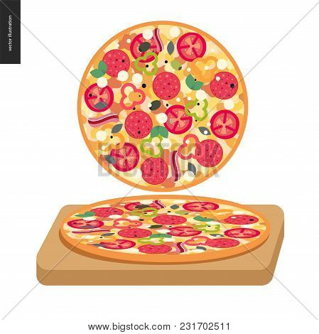 Italian Restaurant Set - Pizza Top View And Pizza On A Board