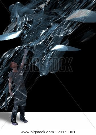 Man And Abstract Design