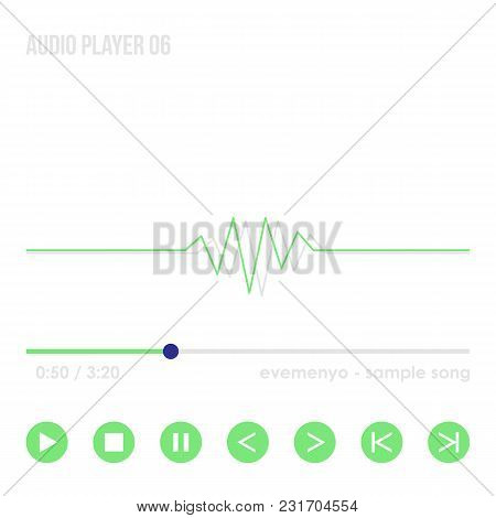 Audio Player 06. Media Player Interface, Gray And Green Gui Elements Isolated On White Background