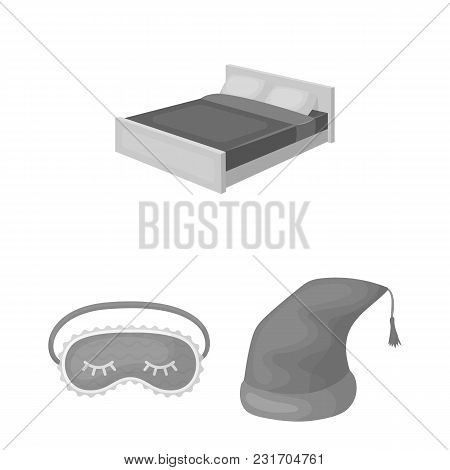 Rest And Sleep Monochrome Icons In Set Collection For Design. Accessories And Comfort Vector Symbol