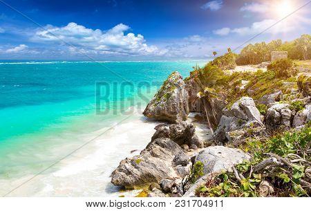 The Beautiful Caribbean Coast Of Tulum In Quintana Roo, Mexico