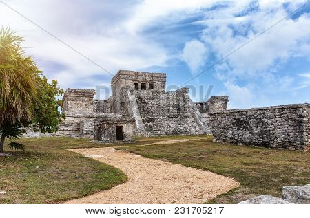 Maya Ruins In Tulum, Next To The Caribbean Sea, Mexico