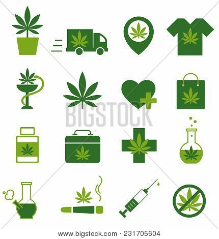 Marijuana, Cannabis Icons. Set Of Medical Marijuana Icons. Marijuana Leaf. Drug Consumption. Marijua