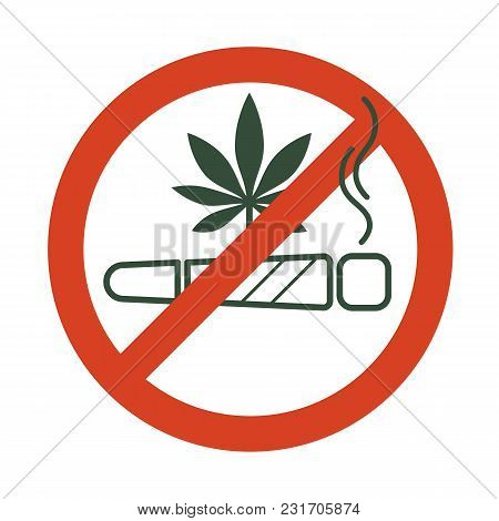 No Drugs Allowed. Marijuana Joint, Spliff, With Forbidden Sign - No Drug. Cannabis Cigarette Icon In