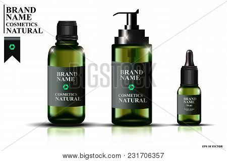 Collection Of Green Glass Bottles With Pipettes, Bottles With Oil For Face, Realistic Cosmetic Bottl