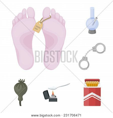 Drug Addiction And Attributes Cartoon Icons In Set Collection For Design. Addict And Drug Vector Sym