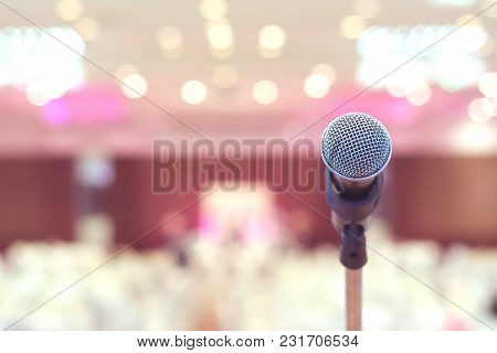 Microphone In Conference On Seminar Room Event Background