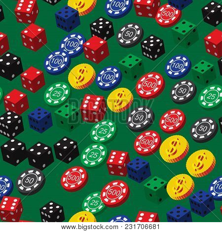 Poker Chips Dice And Coins Seamless Pattern On Green Background