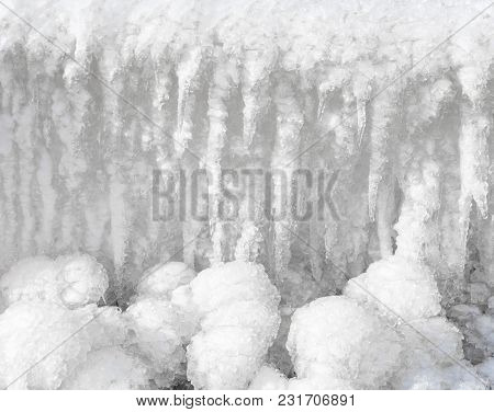 Ice Formed On A Rope Fence On A Cold Winter Day