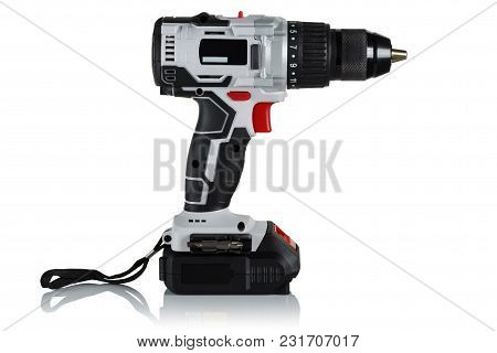 Modern And Powerful Battery Drill, Screwdriver On A White Background