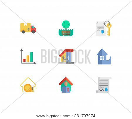 Real Estate Icons Set. Tenant And Real Estate Icons With Change Of Housing, Park And Contract. Set O