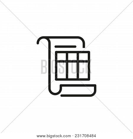 Invoice Line Icon. Bill, Table, Scroll. Finance And Accounting Concept. Can Be Used For Topics Like