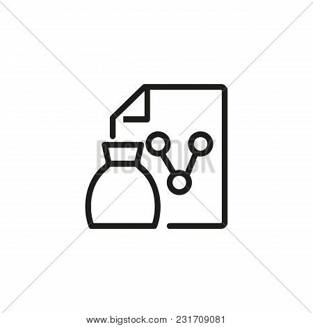 Money Bag And Analytics Line Icon. Diagram, Saving, Investment. Finance Concept. Can Be Used For Top