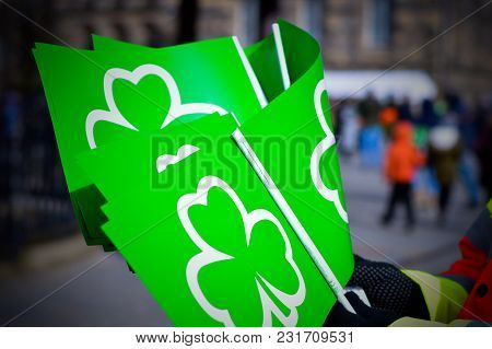 Green Flags With Shamrock Symbol For St Patricks Day Celebration, March, 17, 2018, Belfast, Northern