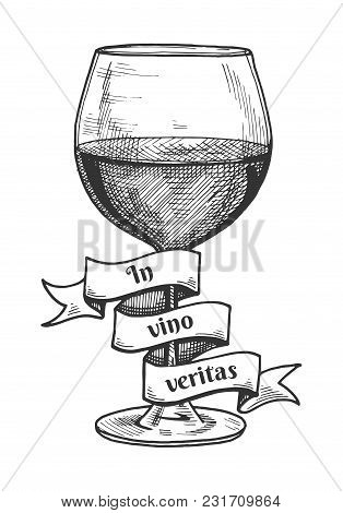 Vector Illustration Of Red Wine Glass With A Ribbon Around It With The Inscription Of Latin Saying I