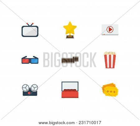 Movie Icons Set With 3d Glasses, Television And Cinema Ticket. Set Of Movie Icons Also Including Tv