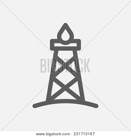 Oil Gas Industry Icon Line Symbol. Isolated Vector Illustration Of Rig Sign Concept For Your Web Sit