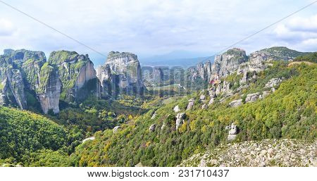 Panoramic Landscape Of Meteora Thessaly Greece - Orthodox Religious Places