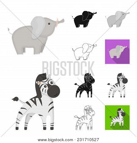 An Unrealistic Cartoon, Black, Flat, Monochrome, Outline Animal Icons In Set Collection For Design.