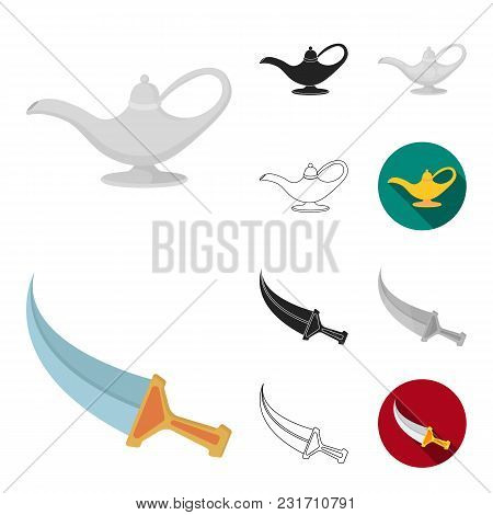 Country United Arab Emirates Cartoon, Black, Flat, Monochrome, Outline Icons In Set Collection For D