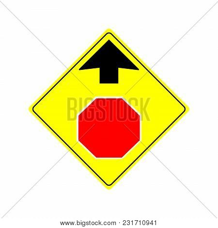 Stop Ahead Sign Illustration Isolated On White