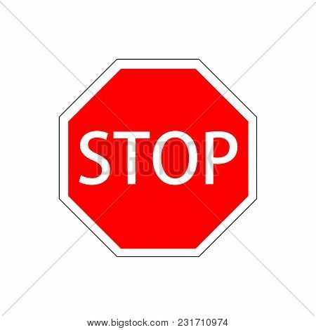Stop Sign Vector Illustration Isolated On White