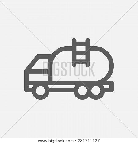 Tanker Truck Icon Line Symbol. Isolated Vector Illustration Of Oil Van Sign Concept For Your Web Sit
