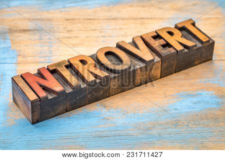 introvert (personality type) - word abstract in vintage letterpress wood type