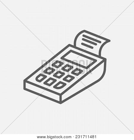 Pos Terminal Icon Line Symbol. Isolated Vector Illustration Of Cashless Sign Concept For Your Web Si