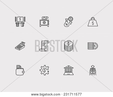Money Payment Icons Set With Cryptocurrency, Bank Atm And Online Bank. Set Of Money Payment Icons Al