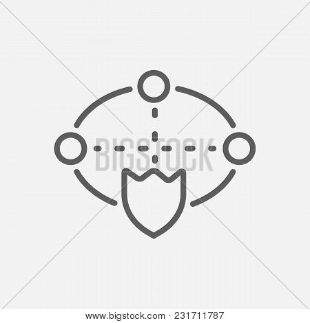 Cyber Security Icon Line Symbol. Isolated Vector Illustration Of Cyberspace Protect Sign Concept For