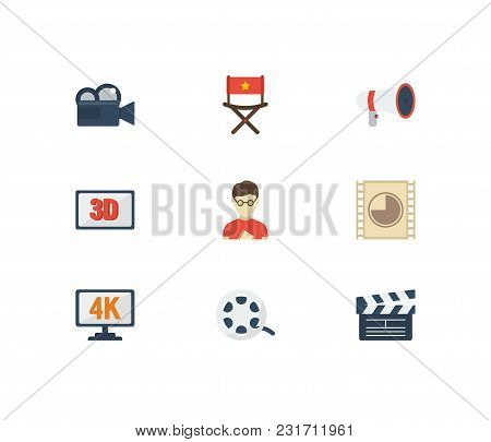 Video Icons Set With 3d Movie, Movie Director And Cinema Reel. Set Of Video Icons Also Including 3d