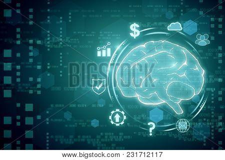 Creative Tech Brain Backdrop. Artificial Intelligence Concept. 3d Rendering
