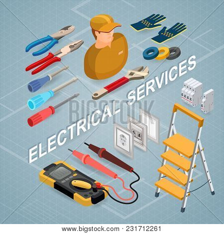 Electrical Services. Isometric Interior Repairs Concept. Colorful Electricity Elements With Electric