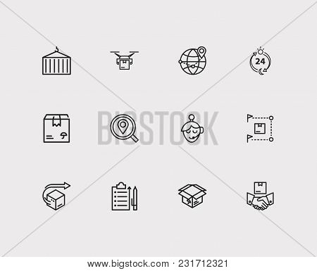 Cargo Icons Set With Logistics, Global Logistics And Distribution. Set Of Cargo Icons Also Including
