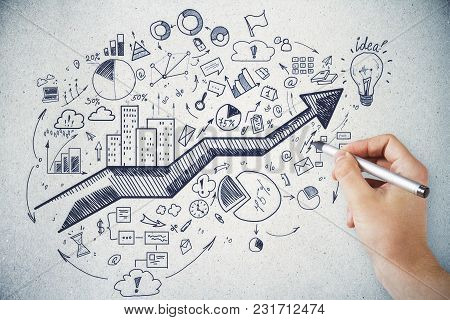 Leadership And Plan Concept. Male Hand Drawing Creative Business Sketch