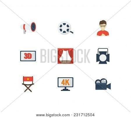 Video Icons Set With 3d Movie, Cinema Director Chair And Cinema Reel. Set Of Video Icons Also Includ